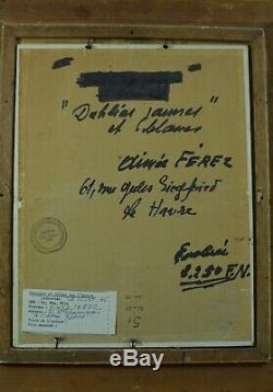 Tableau ancien Bouquet de fleurs Dahlias st Suzanne Valadon signé 1950 Cadre Or