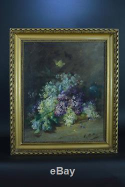 Tableau ancien Bouquet de fleurs Nature morte Papillon Clémence Molliet Bordeaux