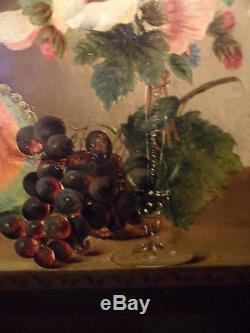 Tableau ancien Bouquet de fleurs et fruits 19 eme Superbe