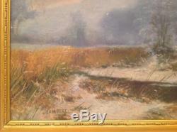 Tableau ancien Camille LAMBERT Impressionniste Belge Paysage de neige signé