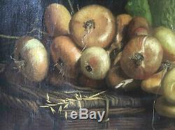 Tableau ancien Ch. ABRAM (petit maître de Franche Comté) Panier d'oignons XIX°