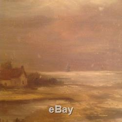 Tableau ancien Charles LUDIN (1867-1949) Huile Toile Marine Crépuscule C 1920