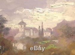 Tableau ancien Charles LUDIN (1867-1949) Huile Village AGOS près LOURDES C 1932