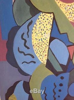 Tableau ancien Cubiste huile toile signé goût Albert GLEIZES Cubist Oil Painting