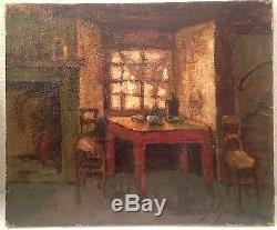 Tableau ancien DENIS-BRUNAUD XXe intérieur Breton Huile sur toile signée