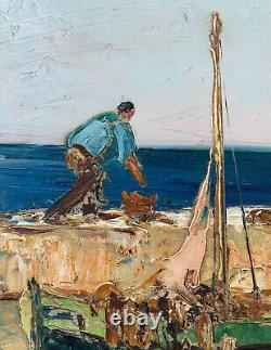 Tableau ancien Débarquement des pêcheurs Marine méditerranéenne HSP