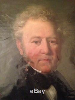 Tableau ancien Ecole Française XIXe Portrait d'Homme Signé VALENTINI C1837