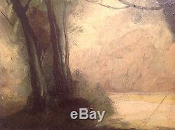 Tableau ancien Ecole Française goût Barbizon signé Huile toile Paysage de neige