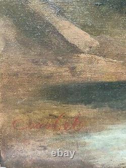 Tableau ancien, Ecole Française vers 1850 école de Gustave COURBET (1819-1877)