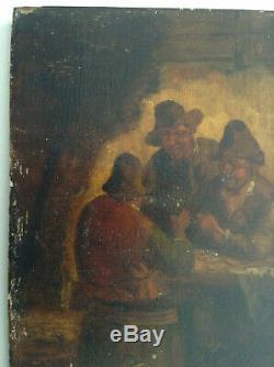Tableau ancien Ecole Hollandaise Les Buveurs dans la Taverne Huile sur panneau