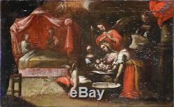 Tableau ancien, École Italienne début XVIIème. Naissance de la Vierge