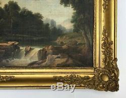 Tableau ancien, Ecole Romantique, Homme au bord d'un ruisseau, Encadré, XIXe