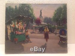 Tableau ancien Edouard CORTES Place de la République Paris huile sur toile