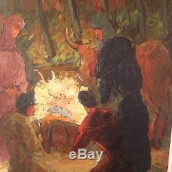 Tableau ancien Emmanuel BELLINI (1904-1989) Les Rois Mages Huile Signée
