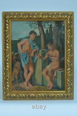 Tableau ancien Enfant Garçon joueur d'Aulos Flûte Paysage Grèce Antique Rome Pan