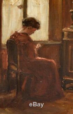 Tableau ancien, Femme devant une fenêtre, vers 1900