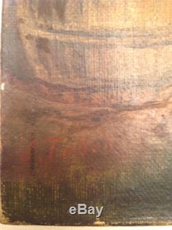 Tableau ancien Fête Villageoise Musiciens Taverne Huile toile signée J. TALLON