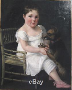 Tableau ancien Français Portrait Enfant Chien Huile Toile Fillette XIXe FRANCE