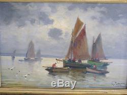 Tableau ancien, Gaston Corbier (1869-1945). Pécheurs Breton. Huile sur panneau