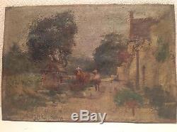 Tableau ancien Georges Stein (1870-1955) huile paysage animé à Busseau signé Oil