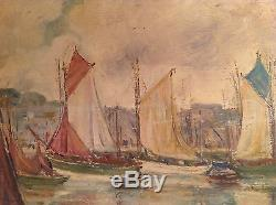 Tableau ancien Goût Paul Signac Impressionniste Marine Bateaux Port Huile signée