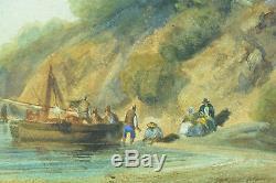Tableau ancien Grand Tour Italie Paysage animée embarquement bord de mer 1859