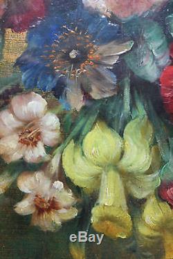 Tableau ancien HSP Composition floral Signé