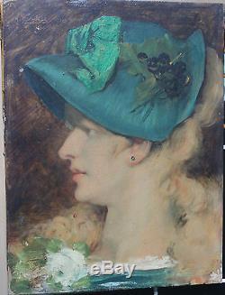 Tableau ancien HSP Elégante au chapeau vert 18(81) Signé