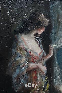 Tableau ancien HSP Femme au rideau Anonyme