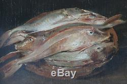 Tableau ancien HSP Nature morte aux poissons D. Pieters