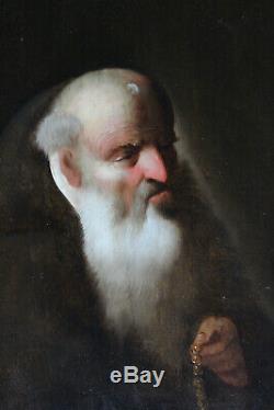 Tableau ancien HSP Portrait de moine Anonyme