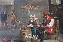 Tableau ancien HSP Scène d'auberge Anonyme Peinture flamande