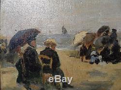 Tableau ancien HSP Scene de plage suiveur Eugéne Boudin