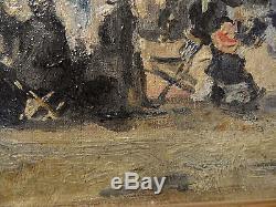 Tableau ancien HSP Scene de plage suiveur Eugéne Boudin n° 2