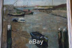 Tableau ancien HST Barques Armand APOL (1879-1950) Ecole belge