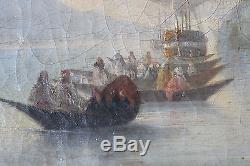 Tableau ancien HST Galères et gondoles en mer Anonyme Ecole italienne