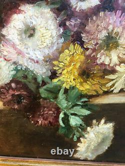 Tableau ancien HST Jeté de fleurs Dalhias Chrysanthèmes avec cadre