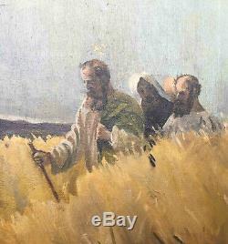 Tableau ancien HST Jour de Sabbat Jesus + ses disciples marchant dans les blés
