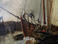 Tableau ancien HST Marine Port animé avec voiliers Ecole hollandaise Monog