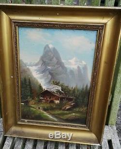 Tableau ancien HST Montagne le Cervin Alpes Suisses Hippolyte ROUX BELLE CÔTE