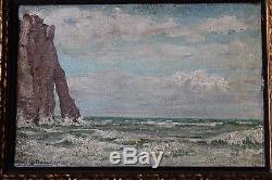 Tableau ancien HST Normandie Etretat Vue de mer Aimé STEVENS (1879-1951)