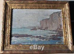 Tableau ancien HST Normandie Vue de mer Aimé STEVENS (1879-1951)