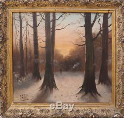 Tableau ancien HST Paysage hivernal Forêt animée XIX° signé Eiffel + cadre