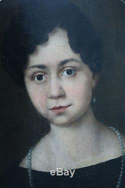 Tableau ancien HST Portrait de dame Anonyme