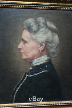Tableau ancien HST Portrait de femme Anonyme