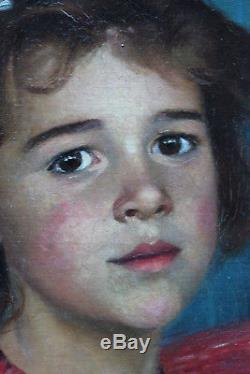 Tableau ancien HST Portrait de fillette 1898 François HALKETT (1856-1921)