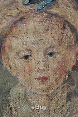 Tableau ancien HST Portrait de garçon Anonyme