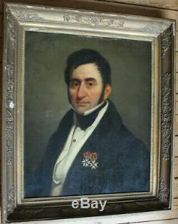 Tableau ancien HST Portrait de gentilhomme Anonyme