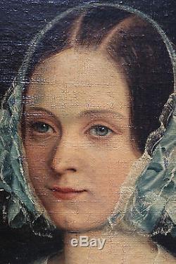 Tableau ancien HST Portrait de jeune femme Anonyme