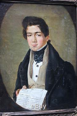 Tableau ancien HST Portrait de jeune homme 1832 Signé